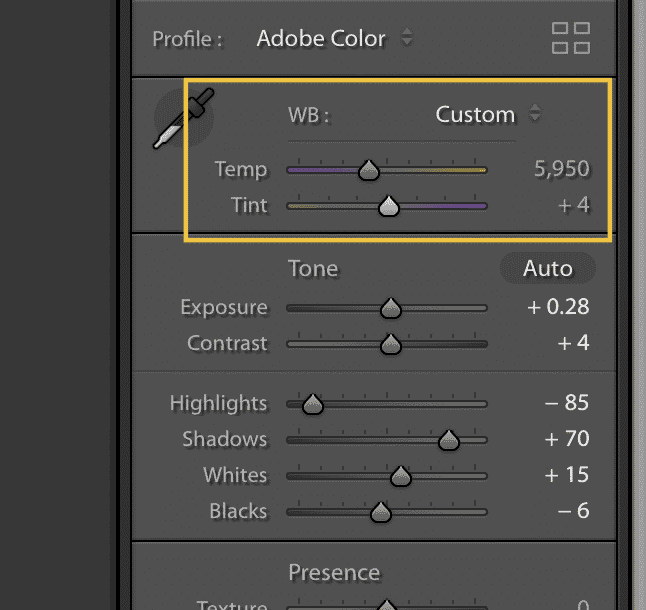 correct white balance in lightroom